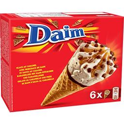 Daim Daim Glaces au caramel avec morceaux et sauce au caramel les 6 cônes de 110 ml