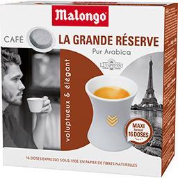 Malongo Malongo Dosettes de café moulu La Grande Réserve pur arabica les 16 dosettes de 6,5 g