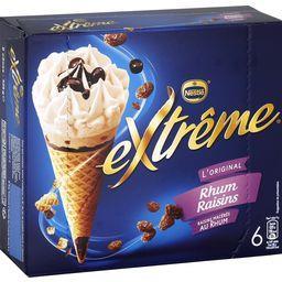 Nestlé Extrême L'Original - Cônes rhum raisins la boite de 6 - 426 g