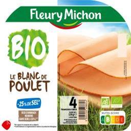 Fleury Michon Fleury Michon Le blanc de poulet BIO sel réduit la barquette de 4 tranches - 120g