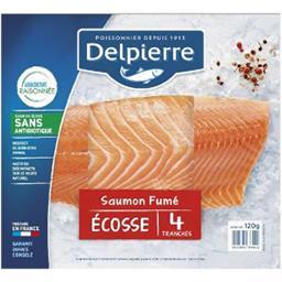 Delpierre Delpierre Saumon atlantique fumé la barquette de 4 tranches de 120g