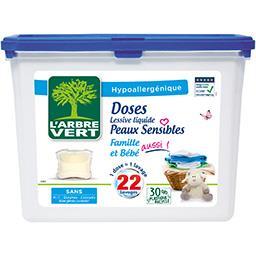 L'Arbre Vert L'Arbre Vert Doses lessive liquide peaux sensibles les 22 doses de 26,4 g