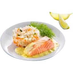Pavé de saumon sauce citron riz cuisiné petits légumes BIO
