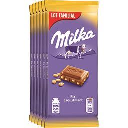 Milka Milka Chocolat au lait au riz croustillant le lot de 6 tablettes de 100 g