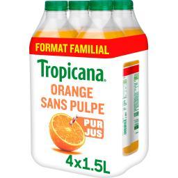 Tropicana Tropicana Pure Premium - Jus d'orange sans pulpe 100% pur jus les 4 bouteilles de 1,5 l