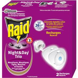 Recharge Night & Day Trio moustiques mouches fourmis