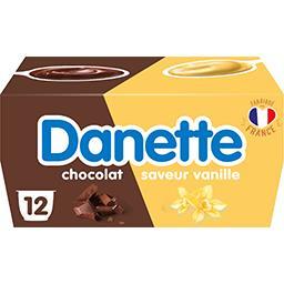 Danone Danone Danette - Crème dessert saveur vanille/chocolat les 12 pots de 115 g