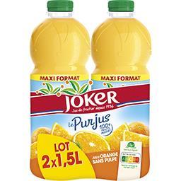 Joker Joker Le Pur Jus - Jus d'orange sans pulpe les 2 bouteilles de 1,5 l