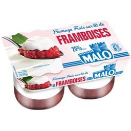 Fromage frais 20% MG sur lit de framboise