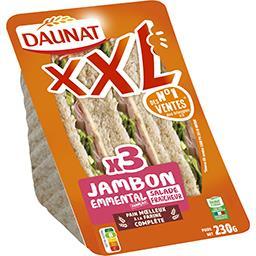 Daunat Daunat XXL - Sandwich pain complet jambon emmental la barquette de 3 - 230 g