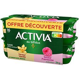 Danone Activia Lait fermenté saveurs vanille & framboise les 16 pots de 125 g