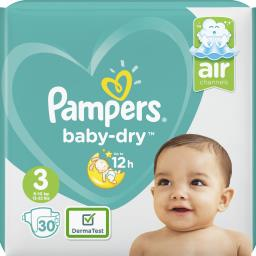 Pampers Pampers Couches baby-dry taille 3 Le paquet de 30