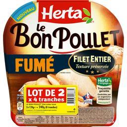Herta Le Bon Poulet - Filet de poulet fumé le lot de 2 barquettes de 4 tranches - 240 g