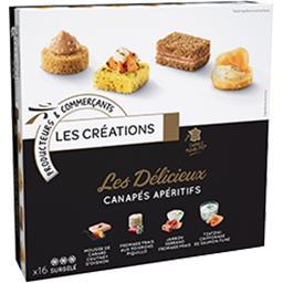 Les Créations Les Délicieux canapés apéritifs la boite de 16 - 120 g