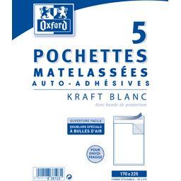 Oxford Oxford Pochette 170x270 kraft blanc auto adhesive matelassee la paquet de 5