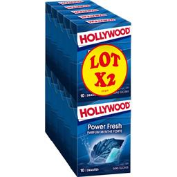 Hollywood Hollywood Chewing-gum Power Fresh parfum menthe forte sans sucres les 2 paquets de 5 boites - 140 g