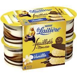 Nestlé La Laitière Feuilleté de mousse vanille les 4 pots de 57 g