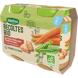 Blédina Blédina Les Récoltes BIO - Carottes petits pois poulet BIO, 6 mois les 2 pots de 200 g