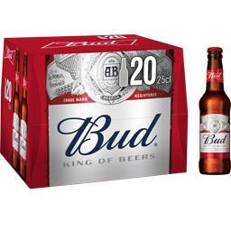 Budweiser Bud Bière les 20 bouteilles de 25 cl