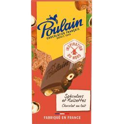 Poulain Poulain Chocolat au lait spéculoos et noisettes la tablette de 180 g