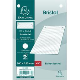 Fiches bristol blanches perforées 100x150 5x5 205 g