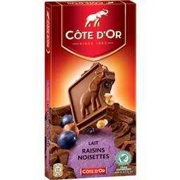 Chocolat au lait raisins noisettes