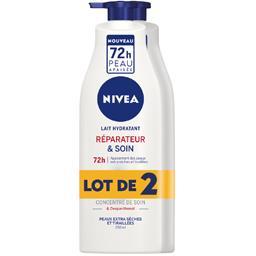 Nivea Nivea Lait hydratant réparateur & soin peaux desséchées ou abimées les 2 flacons de 250ml