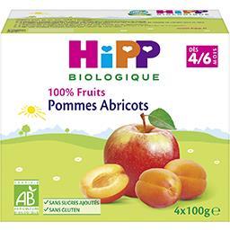 100% Fruits - Pommes abricots BIO, dès 4/6 mois