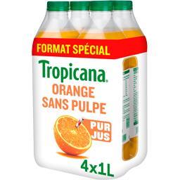 Tropicana Tropicana Pure Premium - Jus d'orange sans pulpe les 4 bouteilles de 1 l