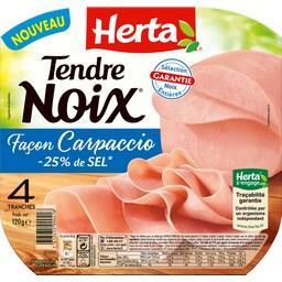 Herta Tendre Noix - Jambon façon Carpaccio réduit en sel la barquette de 4 tranches - 120 g