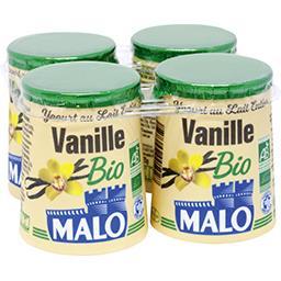 Malo Malo Yaourt à la vanille BIO les 4 pots de 125 g