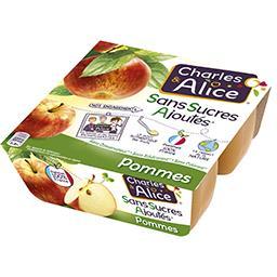 Charles & Alice Charles & Alice Dessert pommes sans sucres ajoutés les 4 pots de 100 g