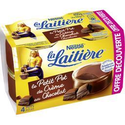 Nestlé La Laitière Petit Pot de Crème au chocolat pur beurre de cacao les 4 pots de 100 g