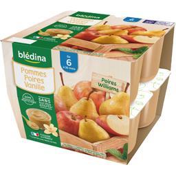 Desserts pommes poires vanille, de 6 mois à 36 mois