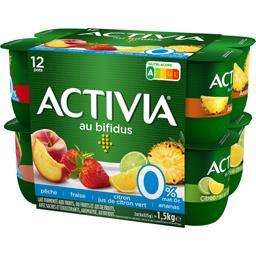 Danone Activia Lait fermenté 0% MG aux fruits les 12 pots de 125 g