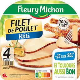 Fleury Michon Fleury Michon Filet de poulet réduit en sel la barquette de 4 tranches - 120 g