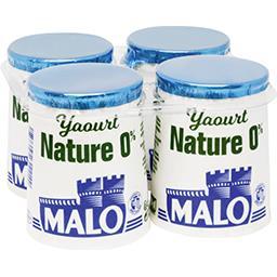 Malo Malo Yaourt nature 0% les 4 pots de 125 g