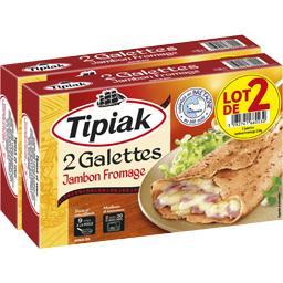 Tipiak Galettes jambon fromage les 2 paquets de 2 galettes de 125 g