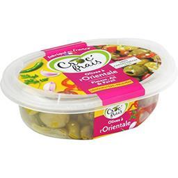 Croc' frais Croc'frais Les apéri gourmandes, olives dénoyautées marinées à l'orientale, piment, persil, il semoule, fort, la barquette, 200g