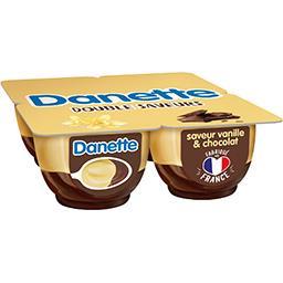Danone Danone Danette - Crème dessert Double Saveurs vanille & chocolat les 4 pots de 125 g