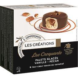 Les Croquants palets glacés vanille pécan sauce au c...