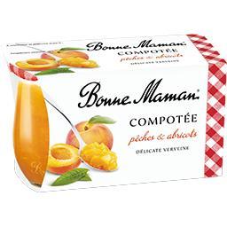 Bonne Maman Bonne Maman Compotée pêches & abricots verveine les 2 pots de 130 g