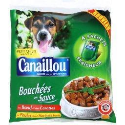 Bouchés en sauce pour petits chiens aux viandes