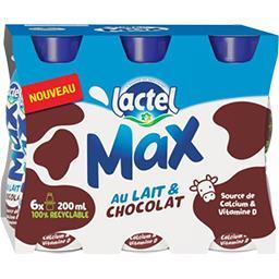 Lactel Lactel Max - Boisson lactée au chocolat les 6 bouteilles de 200 ml