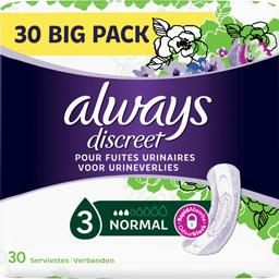 Always Always  Discreet serviettes pour fuites urinaires - normal Le paquet de 30 serviettes