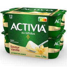 Danone Danone Activia - Lait fermenté au bifidus saveur vanille les 12 pots de 125 g