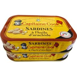 Capitaine Cook Sardines à l'huile d'arachide le lot de 2 boites de 115g