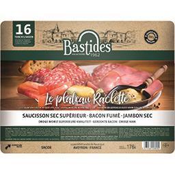 Plateau raclette, bacon fumé jambon et saucisson sec, le paquet de 176 g,BASTIDES SALAISONS,le paquet de 176 g