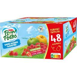 Materne Materne Pom'Potes - Spécialités pomme/pomme fraise/pomme framboise les 48 gourdes de 90 g - Format Familial