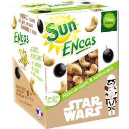 Sun Sun Fruits Secs Encas - Noix de cajou & raisins les 5 sachets de 35 g